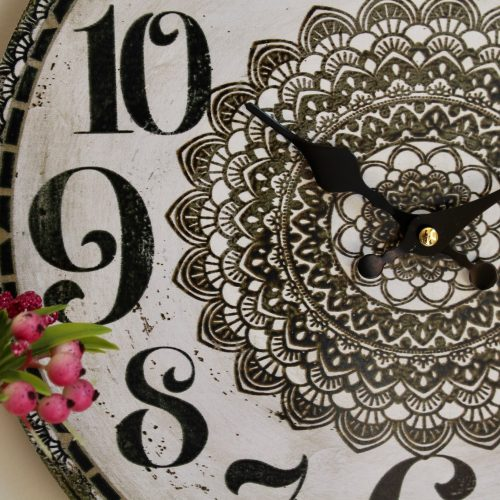Black and White Mandala Wooden Wall Clock