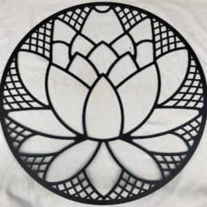 Black Lotus Flower Round Metal Wall Art