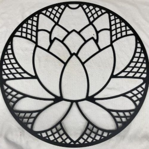 Black Lotus Flower Round Metal Wall Art