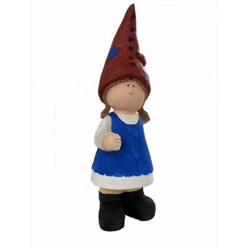 Blue Garden Gnome Girl Statue Ornament