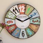 Bright Vintage Style Wooden Wall Clock