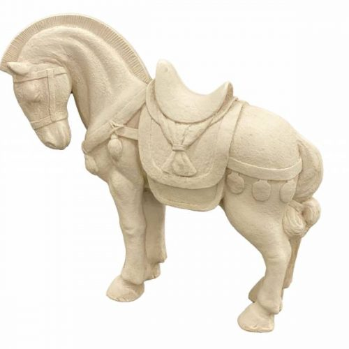 Cream Standing Horse Statue Ornament