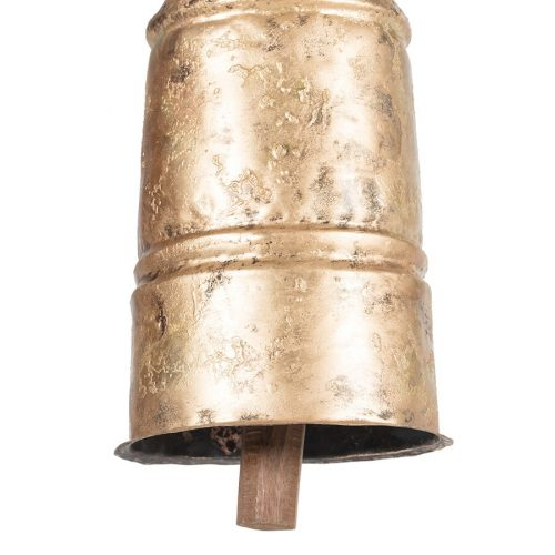 Distressed Gold Cow Bell With Hanging Rope