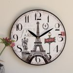 French Eiffel Tower Wooden Wall Clock