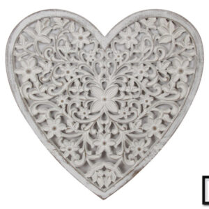 French Filigree Heart White Wooden Wall Art