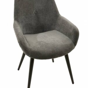 Grey Fabric Dining Chair With Metal Legs - Set of 2