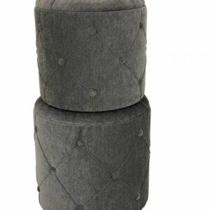 Grey Fabric Ottoman Foot Stools - Set of 2