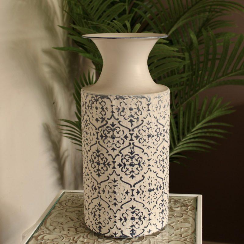 Hamptons Ivory Blue Floral Vase