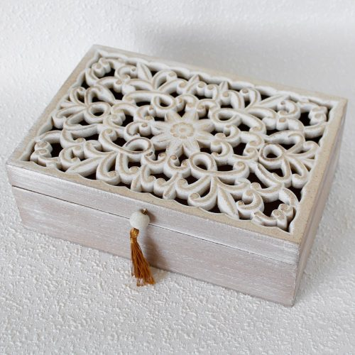 Hamptons Mandala Whitewash Wooden Box