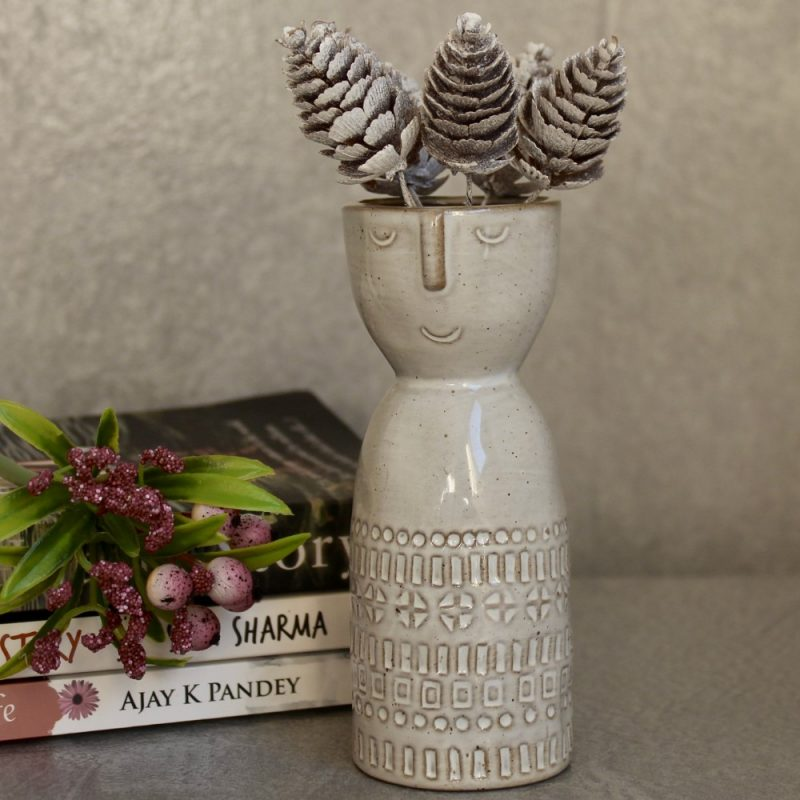 Lady Face Ceramic Bud Vase