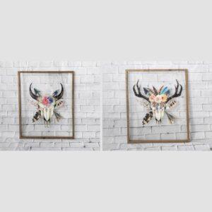 Large Boho Cow Skull Head Transparent Wall Art