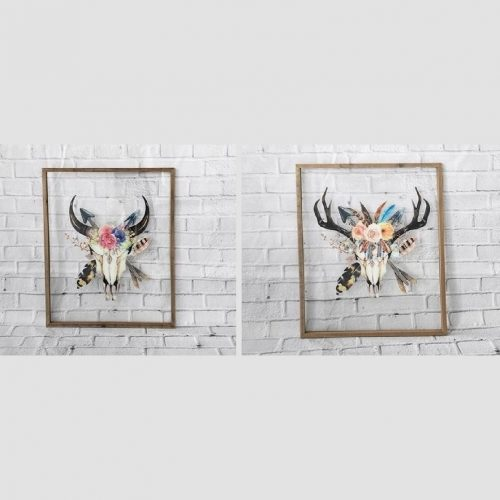 Large Boho Cow Skull Head Transparent Wall Art