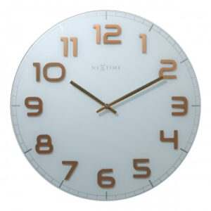 Large Copper White NeXtime Silent Glass Wall Clock