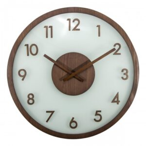 Large NeXtime Frosted Glass Silent Wooden Wall Clock