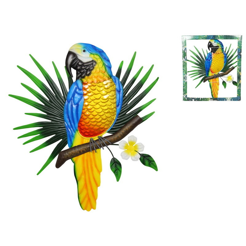 Large Parrot on Leaf Metal Wall Art