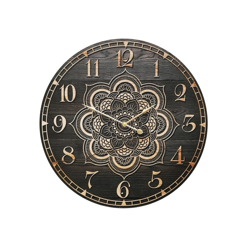 Large Mandala Black Wooden Wall Clock