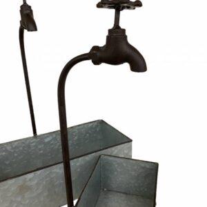 Metal Faucet Water Tap Pot Planters - Set of 2