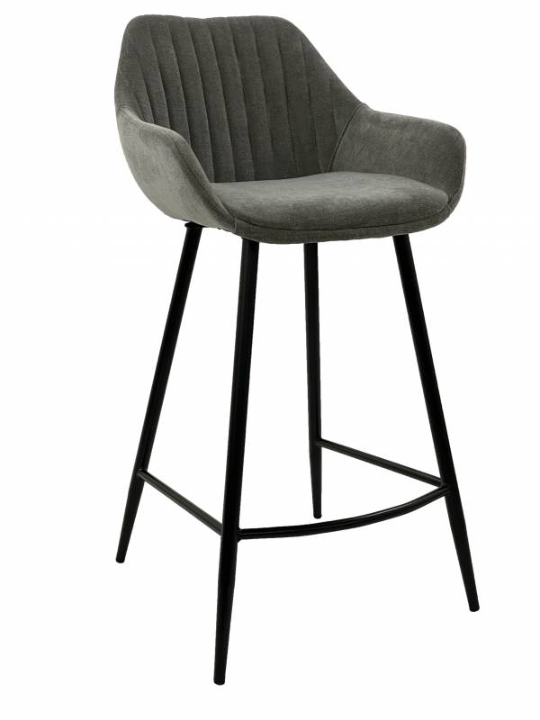 Modern Velvet Bar Stools With Metal Legs - Set of 2