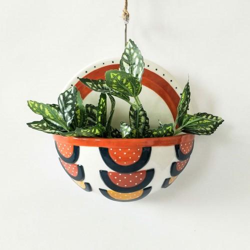 Round Boho Ceramic Wall Pot Planter