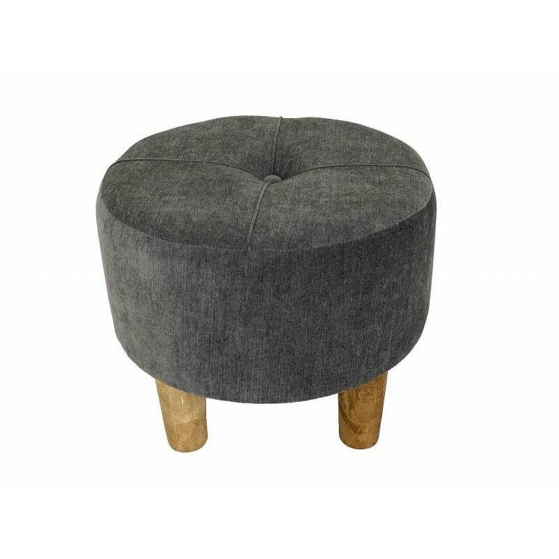 Round Grey Stool With Timber Legs