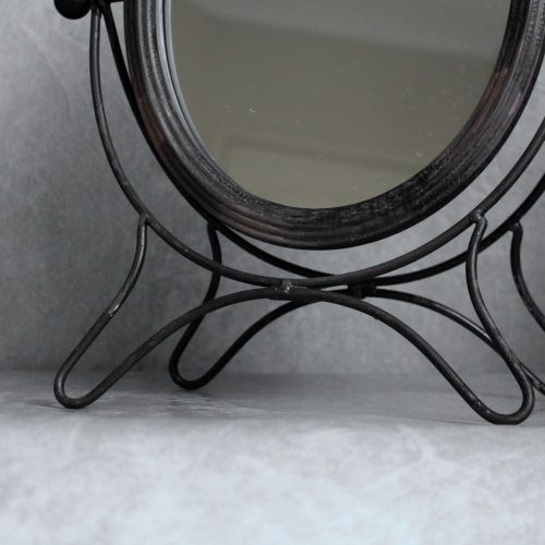 Rustic Black Bird French Table Mirror