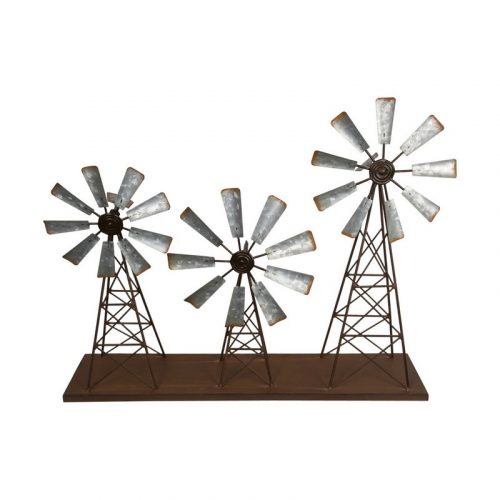 Rustic Galvanised Metal Triple Windmill Wind Spinner