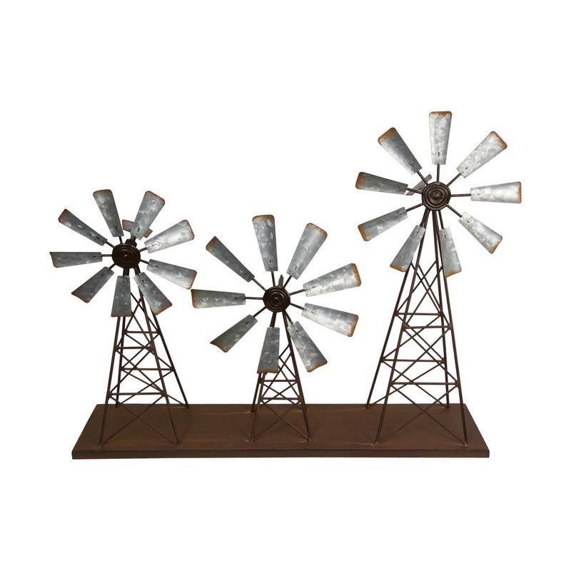 Rustic Galvanised Metal Triple Windmill Wind Spinner