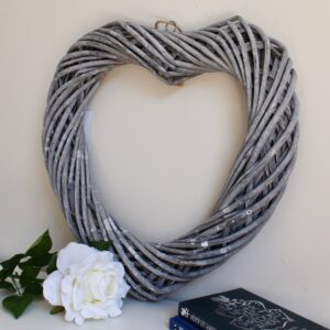Rustic Grey Rattan Heart Ornament