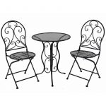 Set of 3 Black Metal Patio Balcony Chair Table Setting
