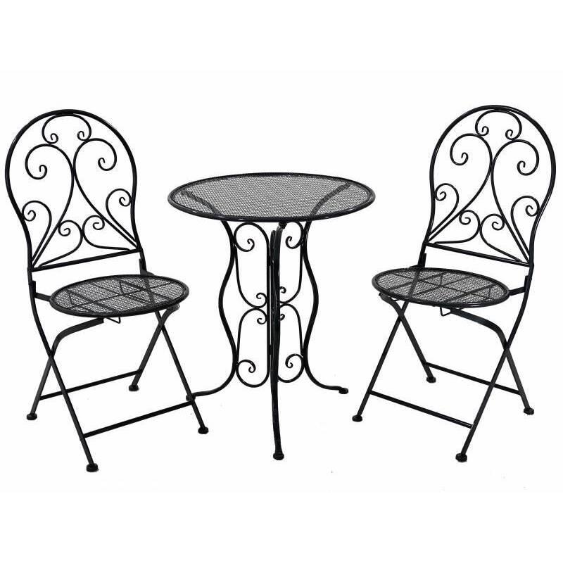 Set of 3 Black Metal Patio Balcony Chair Table Setting