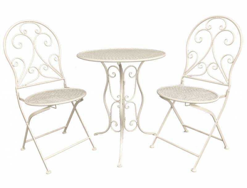 Set of 3 White Metal Patio Chair Table Setting