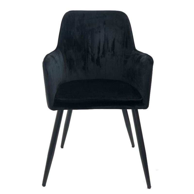 Velvet Armchair Dining Chair With Metal Legs - Set of 2