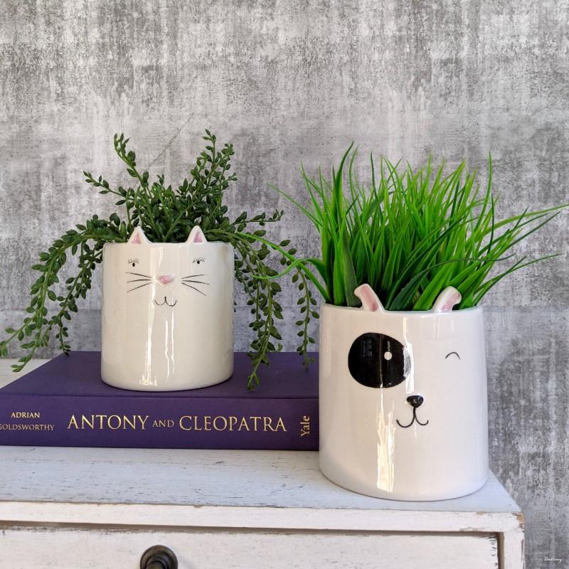 White Ceramic Cat Pot Planter