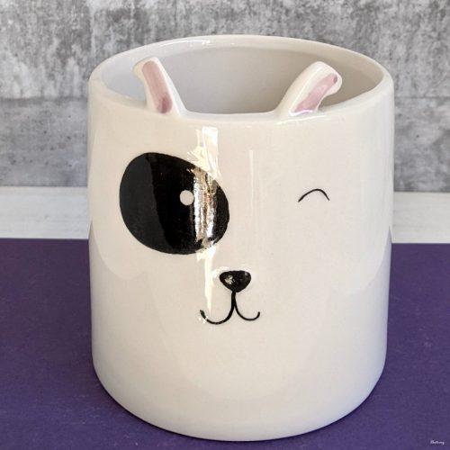 White Ceramic Dog Pot Planter