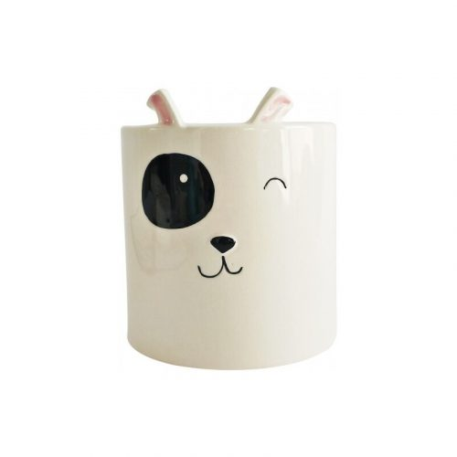 White Ceramic Dog Pot Planter
