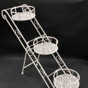 3 Tier Plant Stand White Metal Pot Holder