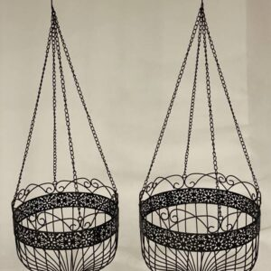 Black Scroll Metal Hanging Pot Planter -Set of 2
