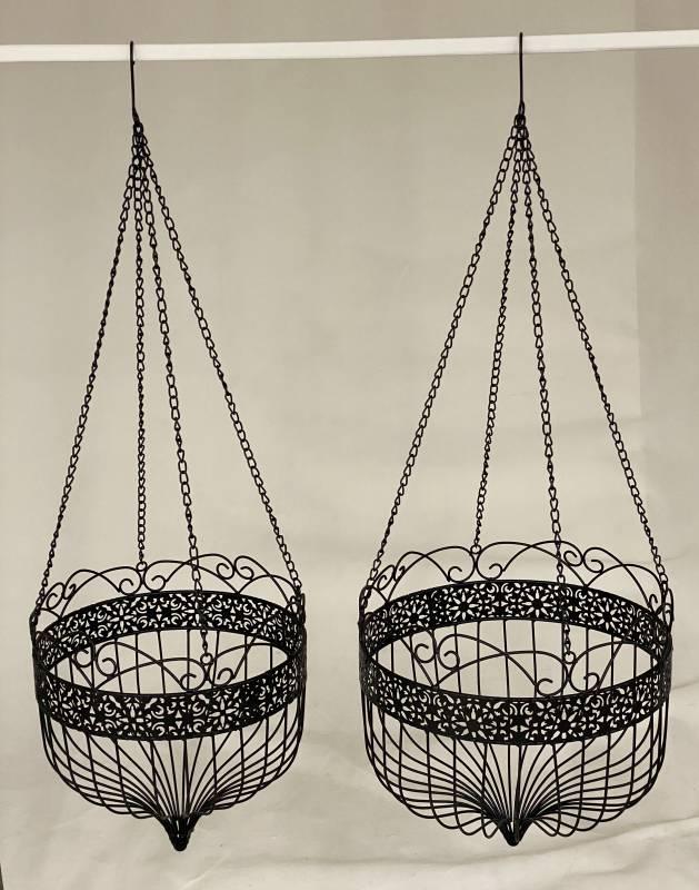 Black Scroll Metal Hanging Pot Planter -Set of 2