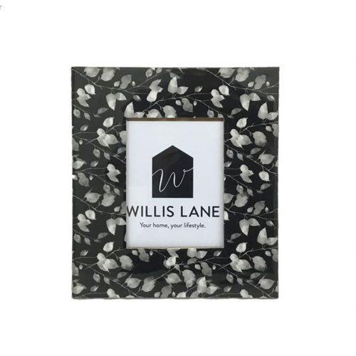 Black White Leaves Wooden Photo Frame
