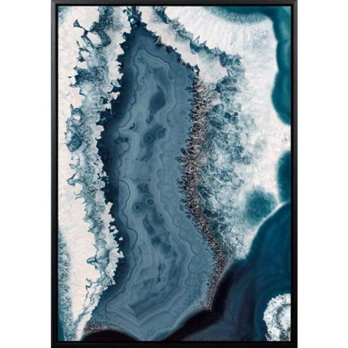 Blue Abstract Water Framed Canvas Print Wall Art