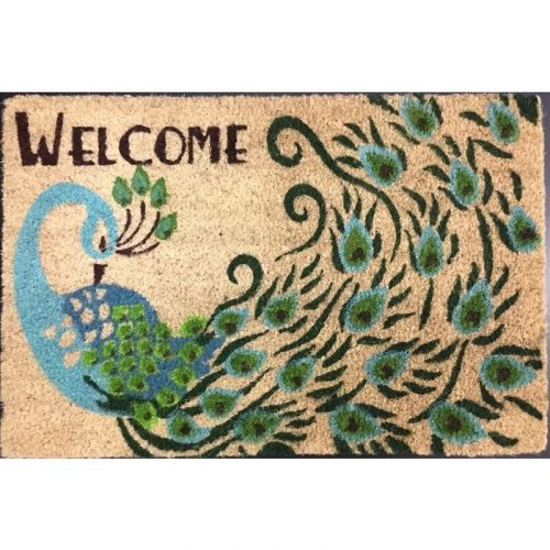 Blue Peacock Coir Fibre and Rubber Doormat
