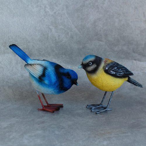 Blue Yellow Bird Figurine -Set of 2
