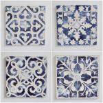 Hamptons Blue Floral Mandala Wooden Wall Art - Set of 4
