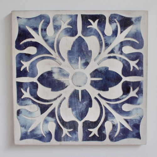 Hamptons Blue Floral Mandala Wooden Wall Art - Set of 4