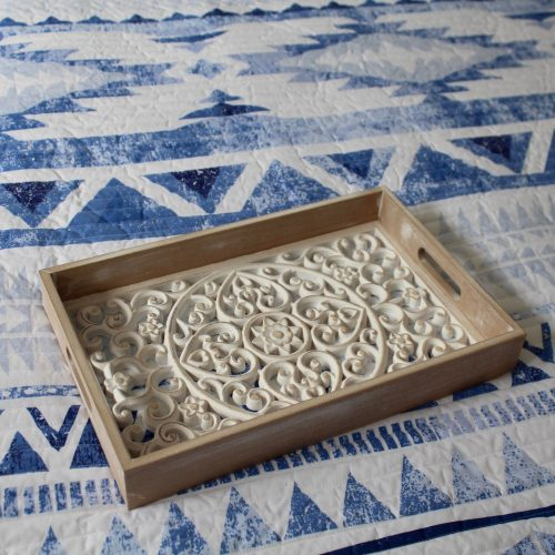 Hamptons Whitewashed Mandala Wooden Serving Tray