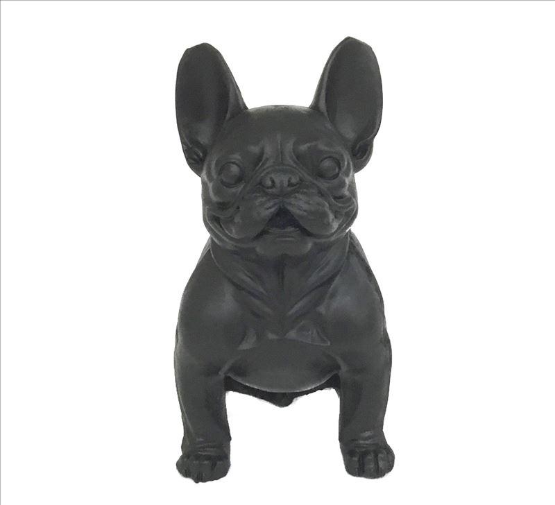 Matt Black Large French Bulldog Dog Statue