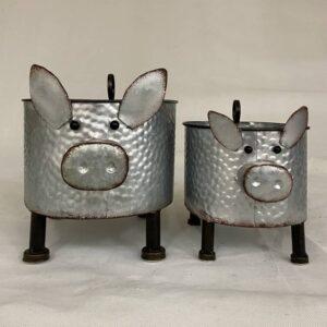 Piggy Pig Metal Pot Planters - Set of 2