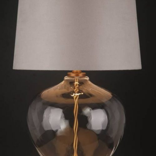White Shade Table Lamp With Clear Glass Golden Base