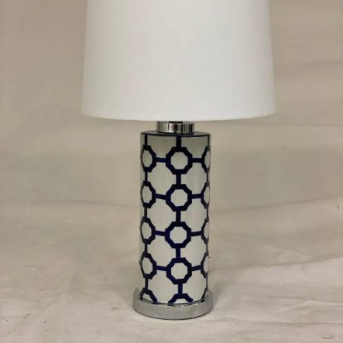 White Shade Table Lamp With Porcelain Base