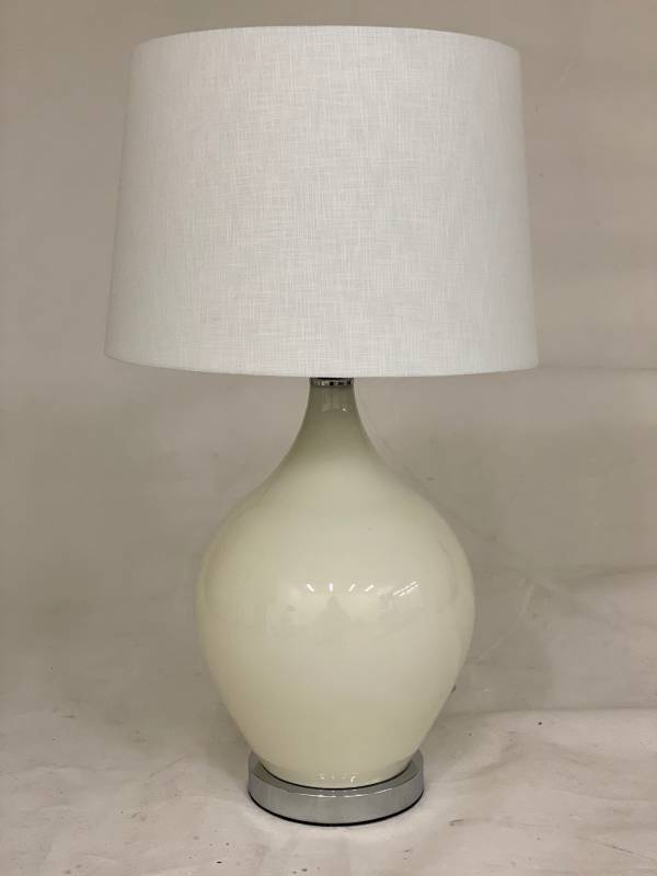 White Shade Table Lamp With Porcelain Silver Base